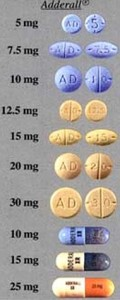 adderall dosage pill size chart